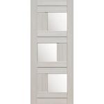 Дверное полотно Эко - шпон 13Х Мелинга Беленый Дуб  2000*700мм Стекло Матовое