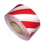 Лента сигнально-оградительная 75мм*100 м/красно- белая