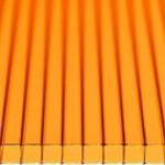 Сотовый поликарбонат для навеса 10мм 2100х12000мм ОРАНЖЕВЫЙ(Сибирские теплицы)