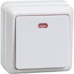 Выключатель 1-кл. ОП ОКТАВА с инд. 10А IP20 ВС20-1-1-ОБ бел. ИЭК EVO11-K01-10-DC