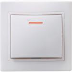 Выключатель 1-кл. СП КВАРТА с инд. 10А IP20 ВС10-1-1-КБ бел. ИЭК EVK11-K01-10-DM