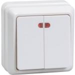 Выключатель 2-кл. ОП ОКТАВА с инд. 10А IP20 ВС20-2-1-ОБ бел. ИЭК EVO21-K01-10-DC