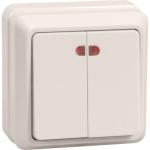 Выключатель 2-кл. ОП ОКТАВА с инд. 10А IP20 ВС20-2-1-ОКм крем. ИЭК EVO21-K33-10-DC