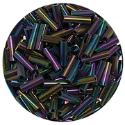Бисер Тайвань стеклярус (уп. 10 г) 0614 т.-синий радужный