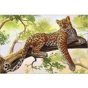 Ткань для вышивания бисером А3 КМЧ-3307 «Леопард» 25*37 см