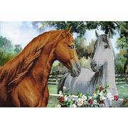 Ткань для вышивания бисером А3 КМЧ-3333 «Лошади» 25*37 см