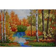 Ткань для вышивания бисером А3 КМЧ-3348 «Осенняя роща» 25*37 см