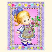 Рисунок на габардине А5 детские БИС 012 «Букет в подарок» 12*16 см