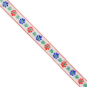 Тесьма 10 мм жаккард без люрекса бел. с син./красн. цветами