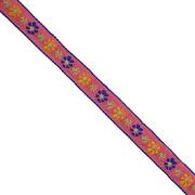 Тесьма 10 мм жаккард без люрекса роз. с син./желт. цветами