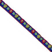 Тесьма 10 мм жаккард без люрекса син. с красн./желт. цветами