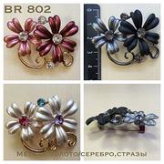 Брошь BR 802 «Два цветка с кристаллом»