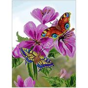 Ткань для вышивания бисером А3 КМЧ-3425 «Бабочки и цветы» 25*37 см