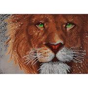Ткань для вышивания бисером А3 КМЧ-3455 «Взгляд льва» 25*37 см