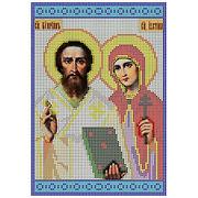 Рисунок на габардине А4 КМЧ-4347 «Св. Куприян и Св. Устинья» 18*25,5 см