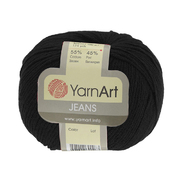 Пряжа Джинс (YarnArt Jeans), 50 г / 160 м,  53 черный