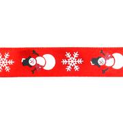 Лента атласная 15 мм с рис. «Снеговик» (уп. 22,5 м) красный