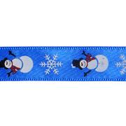 Лента атласная 15 мм с рис. «Снеговик» (уп. 22,5 м) синий