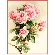 Ткань для вышивания бисером «Русская сказка ПЛ-022 Розы» 19*25 см