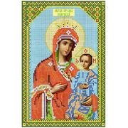 Ткань для вышивания бисером «Русская сказка АН-002 БМ Иверская» 18,5*28 см
