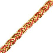 Тесьма металл. 10 мм «Косичка» (уп. 18,28 м) красный/золото