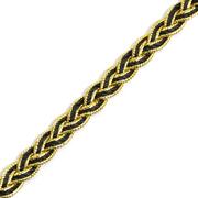Тесьма металл. 10 мм «Косичка» (уп. 18,28 м) чёрный/золото