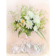 Набор для вышивания Матренин Посад 7007 «Хризантемы белые» (ленты,мулине) 33*43 см