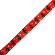 Лента репсовая 15 мм с рис. «Ёлки и снеговики» (уп. 22,5 м) красный/ёлки