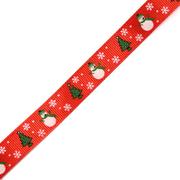 Лента репсовая 15 мм с рис. «Ёлки и снеговики» (уп. 22,5 м) красный/снеговик