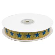 Тесьма металл. 15 мм DM-001 «Звёздочки» (уп. 32,9 м) 7713141 золото/синий