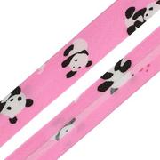 Косая бейка 15 мм х/б 1AS-039 «Панды»  (уп. 54,9 м) ярко-розовый