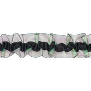 Рюши 40 мм 1AS-107  эластич. двухсторон. (уп 9,14м) черный/зеленый
