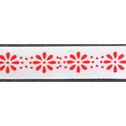 Лента атласная 12 мм ALP-121 (рул. 22,8 м) F2001/065 бел./красн.