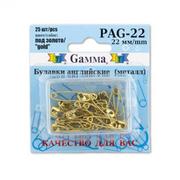Булавки англ. «Gamma» PAG-22 золото (уп.25 шт)