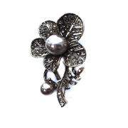 Брошь BR 890 «Цветок» т.никель