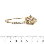 Булавка декоративная «Корона со стразами» 6,2 см золото