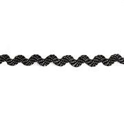 Тесьма вьюнчик 5 мм (рул. 20 м)  9000 чёрный/серебро