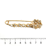 Булавка декоративная «Цветок со стразами» 7.5 см золото