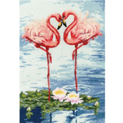 Набор для вышивания Золотое руно З-051 «Свидание фламинго» 31*22 см