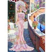 Рисунок для вышивания бисером Каролинка КБЛ-3014/1 «Дама с зонтиком в розовом» 27,5*37 см
