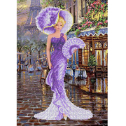 Рисунок для вышивания бисером Каролинка КБЛ-3042/1 «Дама с веером» 25*37 см