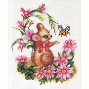 Набор для вышивания Panna Д-0276 «Мышонок с букетом» 20*23 см
