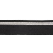Подвяз трикотажный п/э TBY.MP16 с серебряными полосами 35*80 см черный