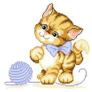 Набор для вышивания Нитекс 2386  «Котенок с клубком» 22*22 см