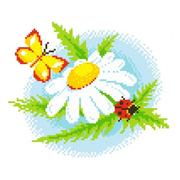 Набор для вышивания Нитекс 2402  «Ромашка и бабочка» 22*22 см