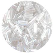 Бисер Астра стеклярус (уп. 20 г) М0161Т белый кручен. радужный