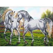 Набор для вышивания бисером Паутинка Б-1474 «Пара белых лошадей» 28*38 см