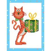 Алмазная мозаика Фрея ALVS-023 «Кот с подарком»14*19.5 см
