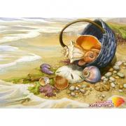 Алмазная мозаика АЖ-1069 «Ракушка в корзине» 40*29 см