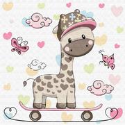 Картина по номерам Molly KH0451  «Жирафик на скейтборде» 20*20 см